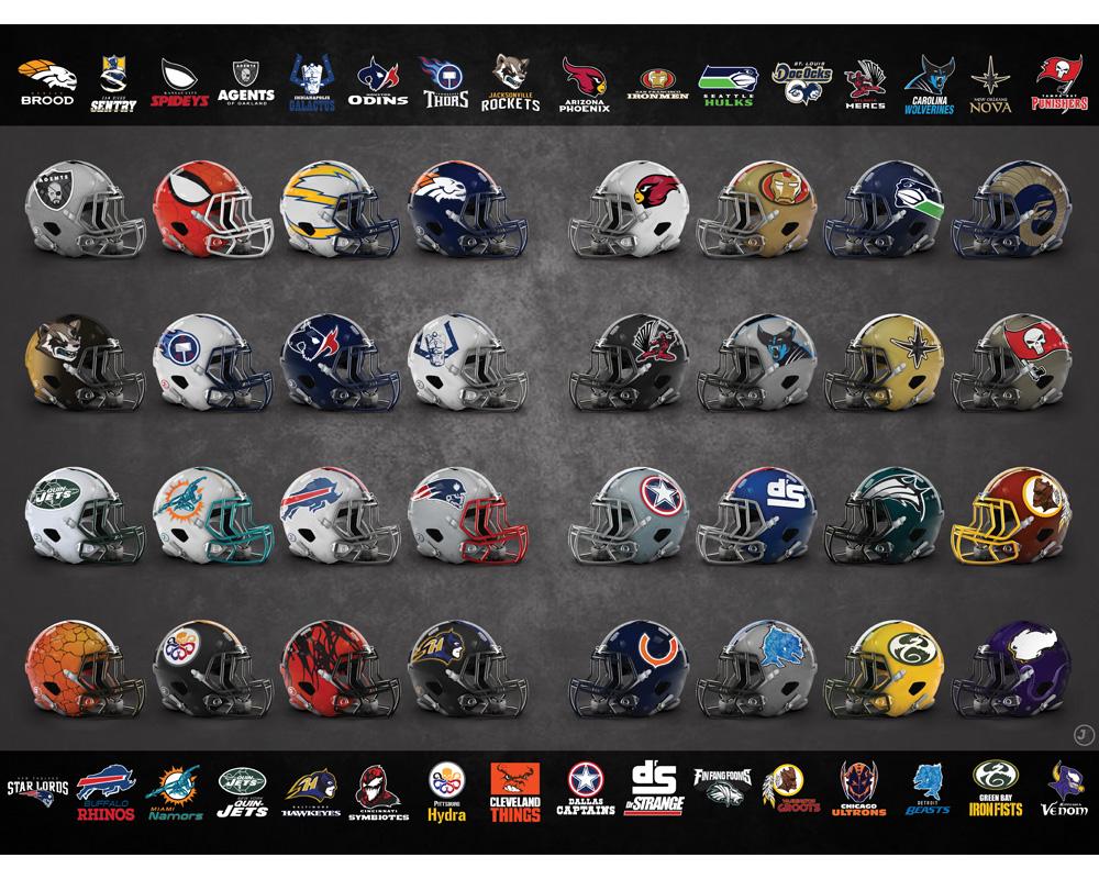 Wählt euer Team: Marvel-Inspirierte Footballteams und -helme